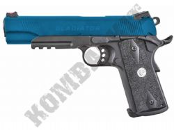 APS Marcux BB gun M1911 railed replica pistol airsoft gas blowback 2 tone blue black metal